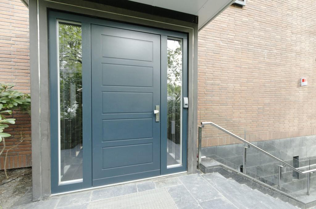 Einflügelige Haustür in Kassettenoptik mit 2 festverglasten Seitenteilen