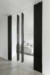 Raumhohe Dreh-Pendeltür zweiflügelig in schwarz mit viel Glas